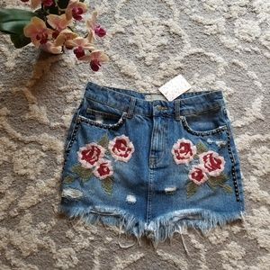 Free People Wild Rose Denim Skirt Size 26 NWT